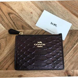 NWT Coach Dark Purple Python Leather Mini Wallet
